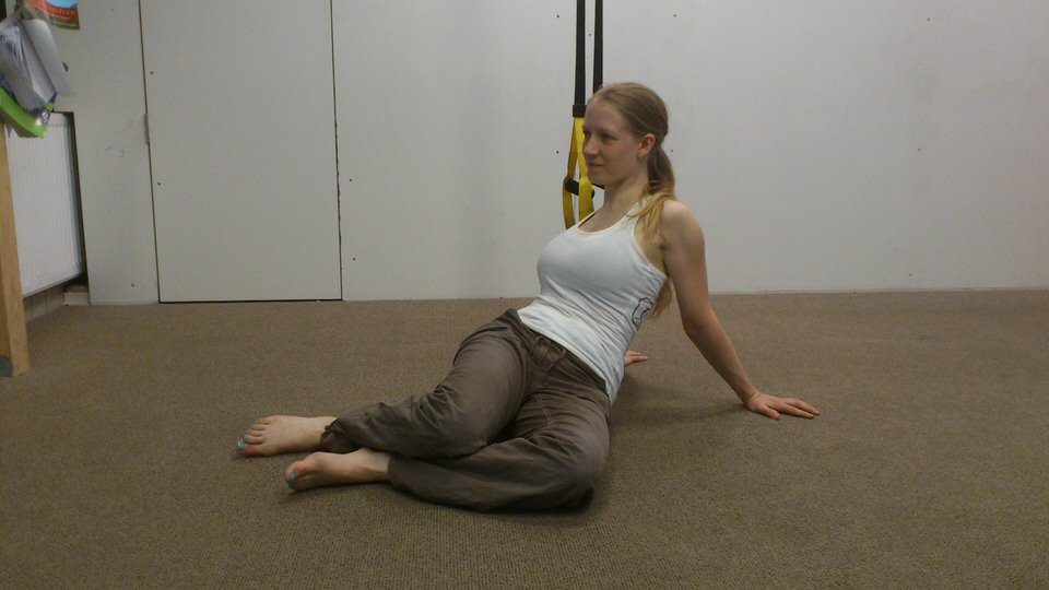 twist to prevent a stiff back after climbing yoga pose
